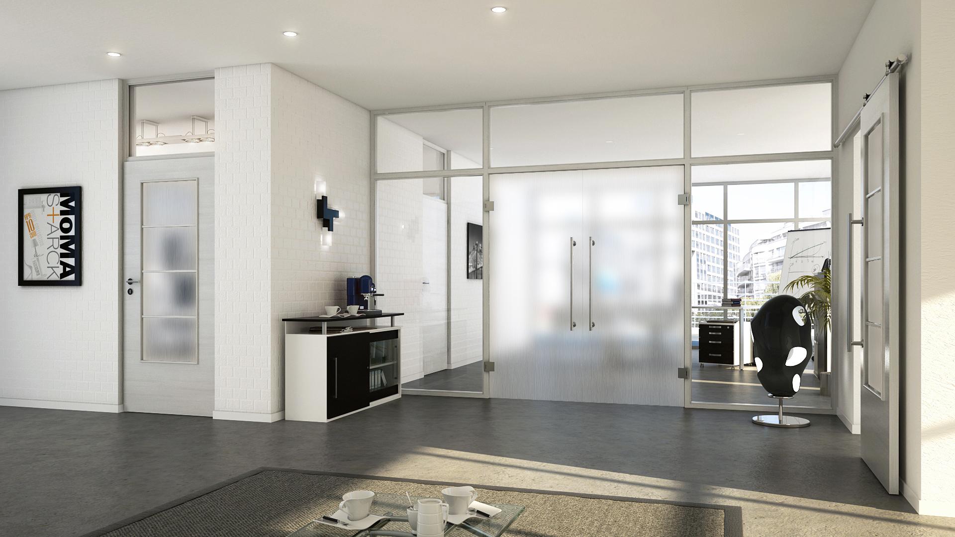 t ren aus glas sorgen f r eine helle und freundliche. Black Bedroom Furniture Sets. Home Design Ideas