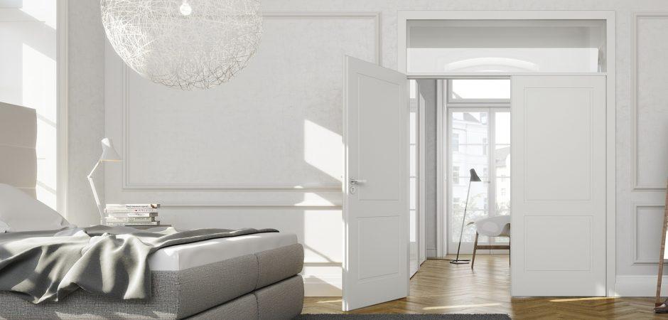 zweiflügelige weiße Tür