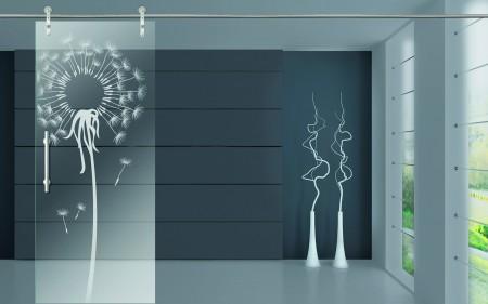 Glastür mit individuell gestaltbarer Lasergravur