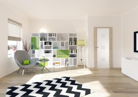 Wohnzimmer mit heller Tür