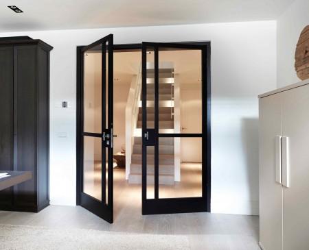 Zweiflügelig, schwarz mit Glas