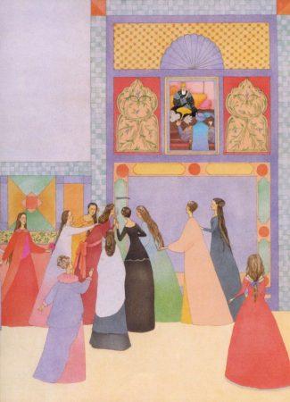 12 Prinzessinen lauschen an der Tür